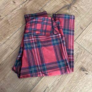 Tartan red leggings.  Full length.
